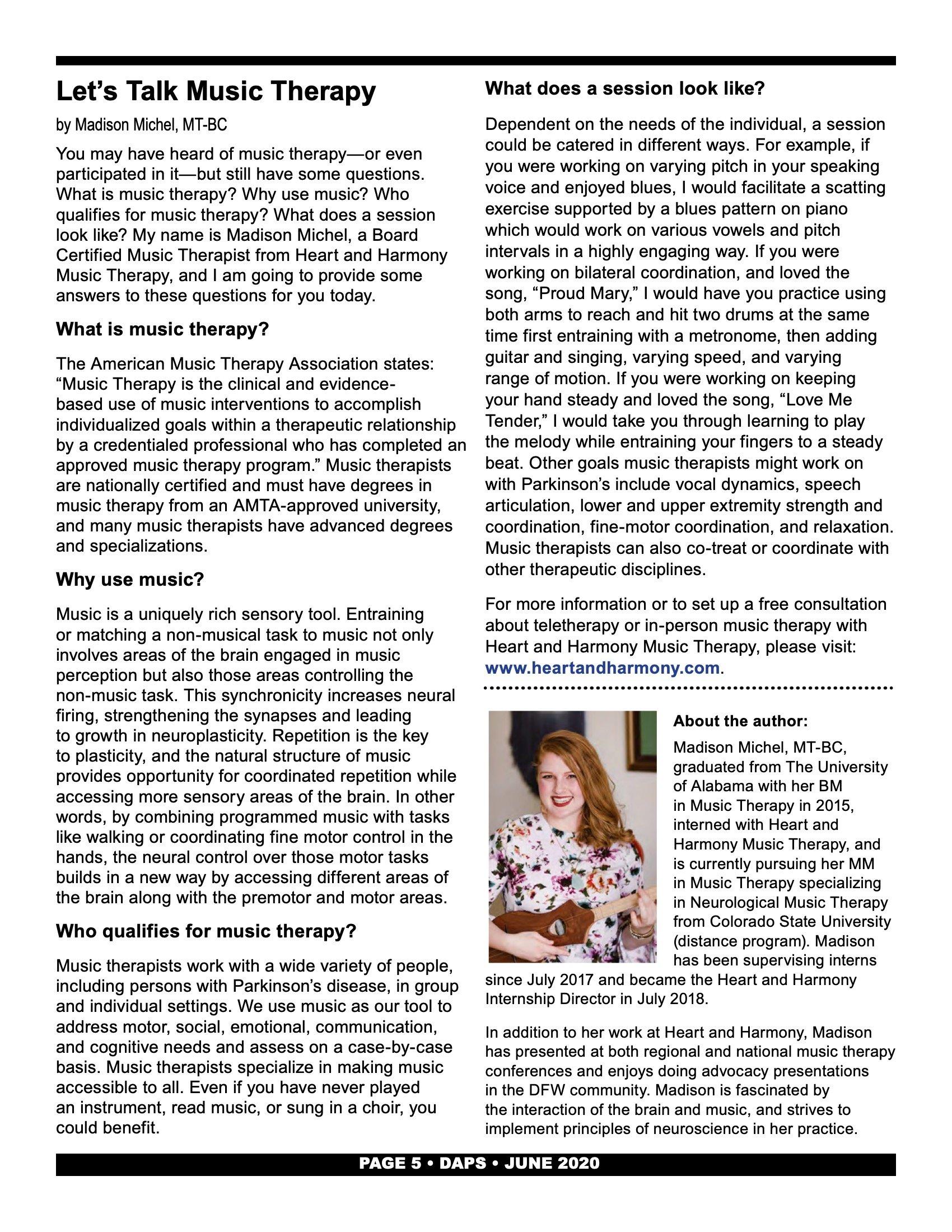 Dallas Area Parkinson Society Newsletter